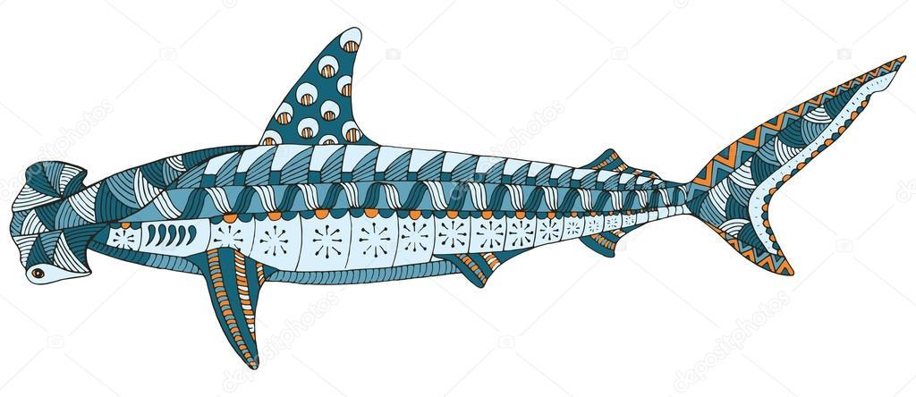 Hammerhai Hai Zentangle stilisiert, Vektor, Abbildung, Muster ...