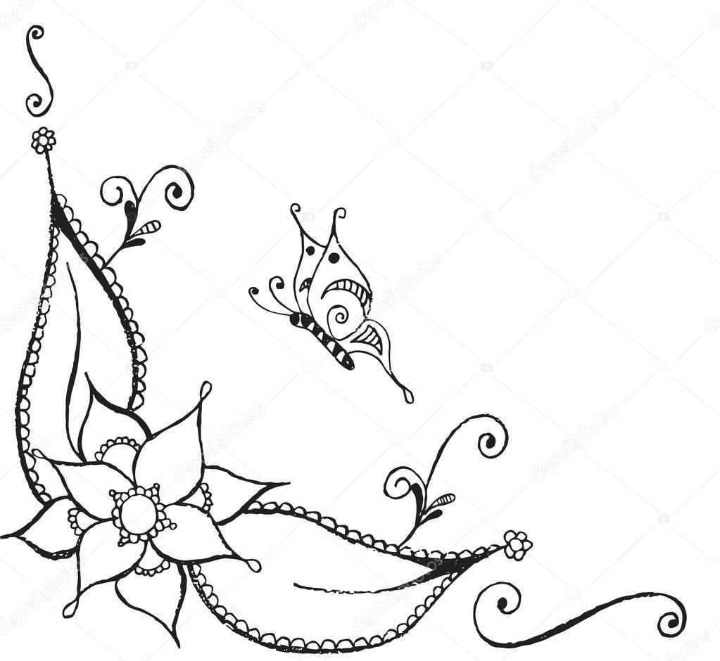 Zentangle estilizada mariposa, flor, hojas, vector Ilustración ...