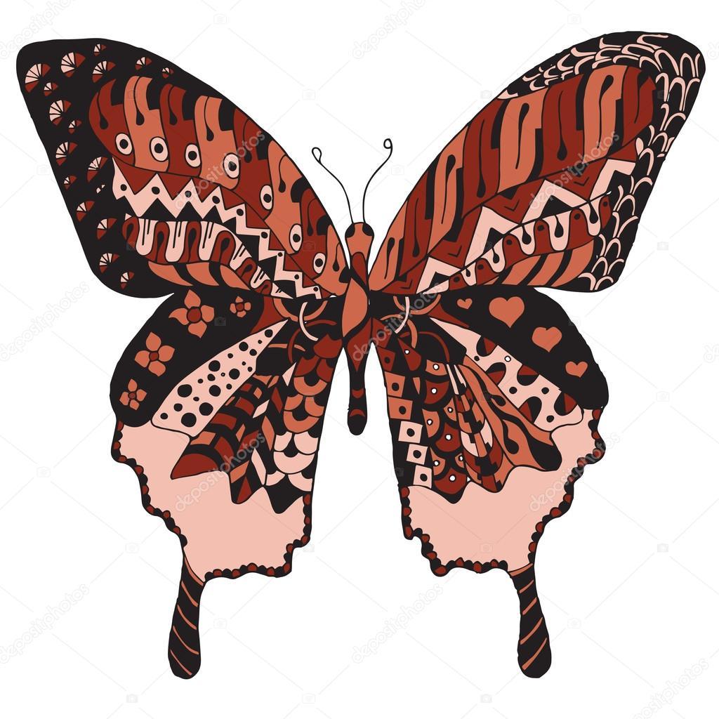 Umelecky Rucne Kreslenou Zentangle Stylizovane Motyl Vektor