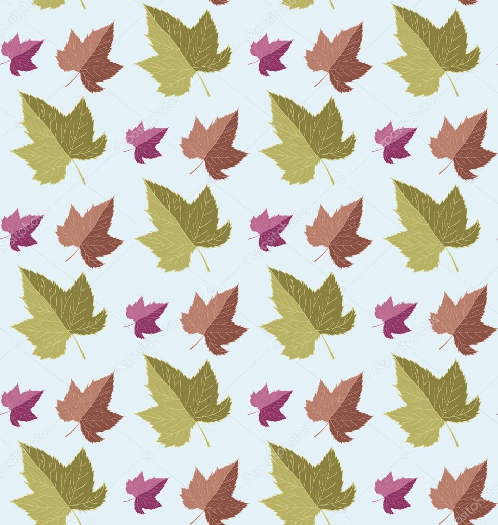 Seamless pattern autumn leaves. Vector illustration. Freehand pencil.