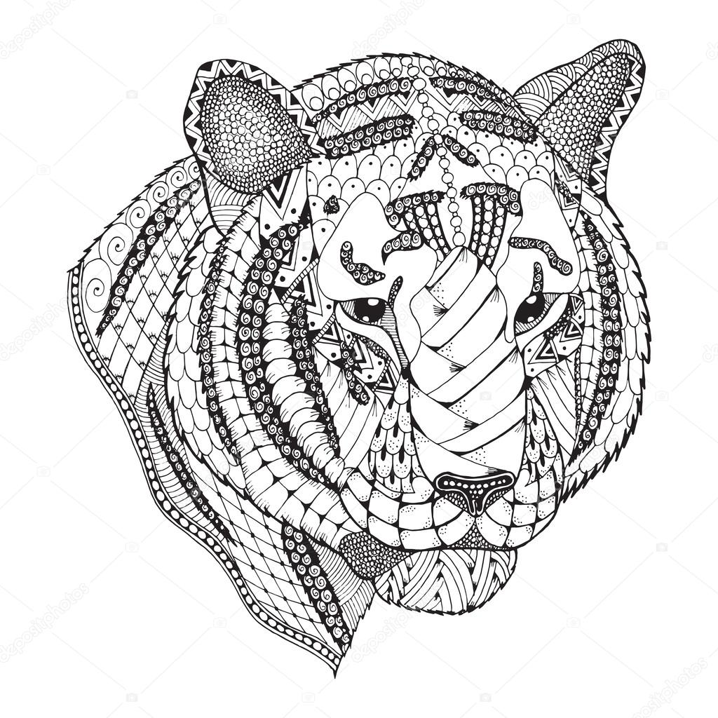 tiger zentangle stylized vector illustration