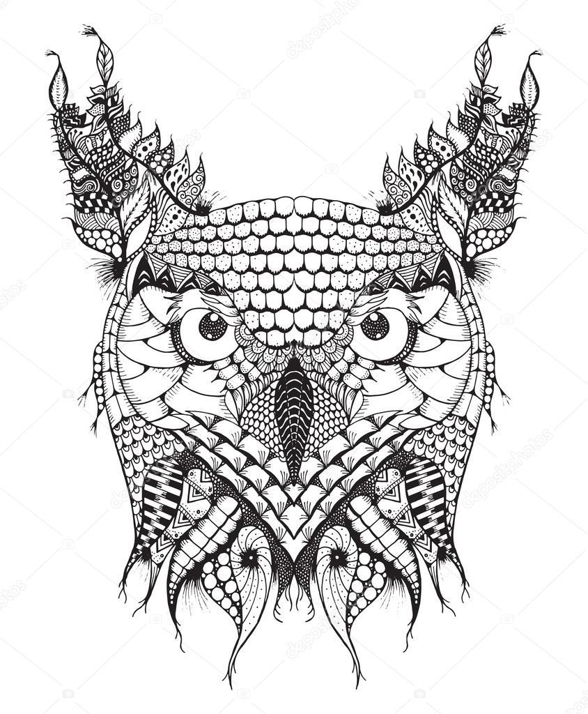 Dibujos A Lapiz Aztecas Búho Cornudo Zentangle Cabeza Estilizada