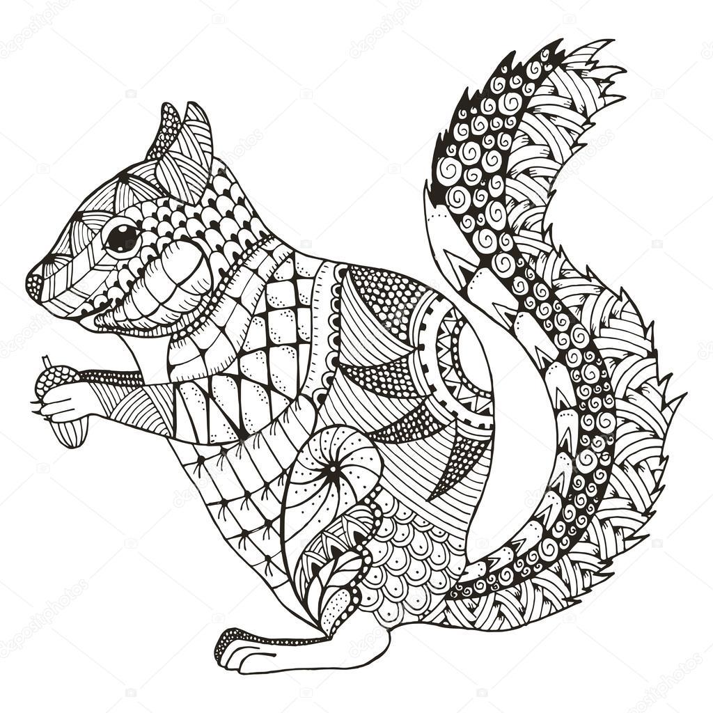 Eichhörnchen Sie Zentangle stilisiert, Vektor, Abbildung, Muster ...