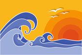 Velké vlny s slunce a racky, vektorové ilustrace. Léto.