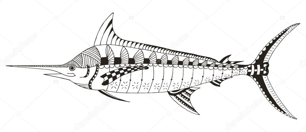 Marlin, pez espada zentangle estilizado, vector, Ilustración, lápiz ...
