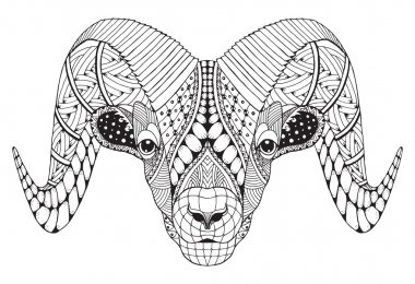 Male rocky mountain bighorn sheep ram standing zentangle stylized, vector illustration, freehand pencil, hand drawn, pattern. Zodiac sign aries.