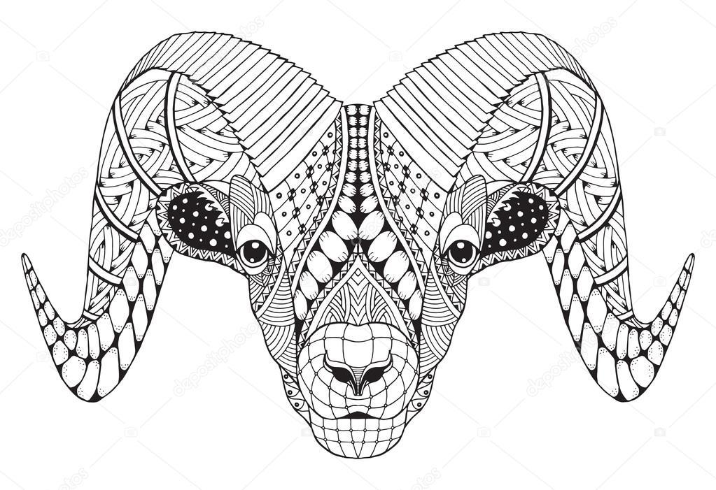 Vector: borrego dibujo | Borrego cimarrón macho de montaña rocosa ...
