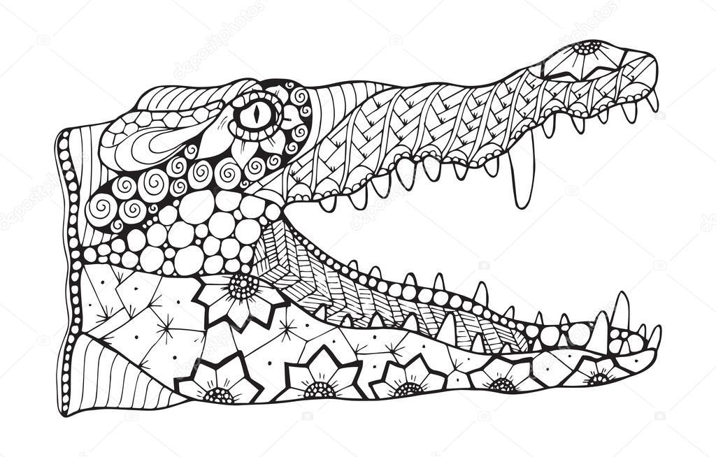 Zentangle cocodrilo estilizado, vector, Ilustración, patrón, lápiz a ...
