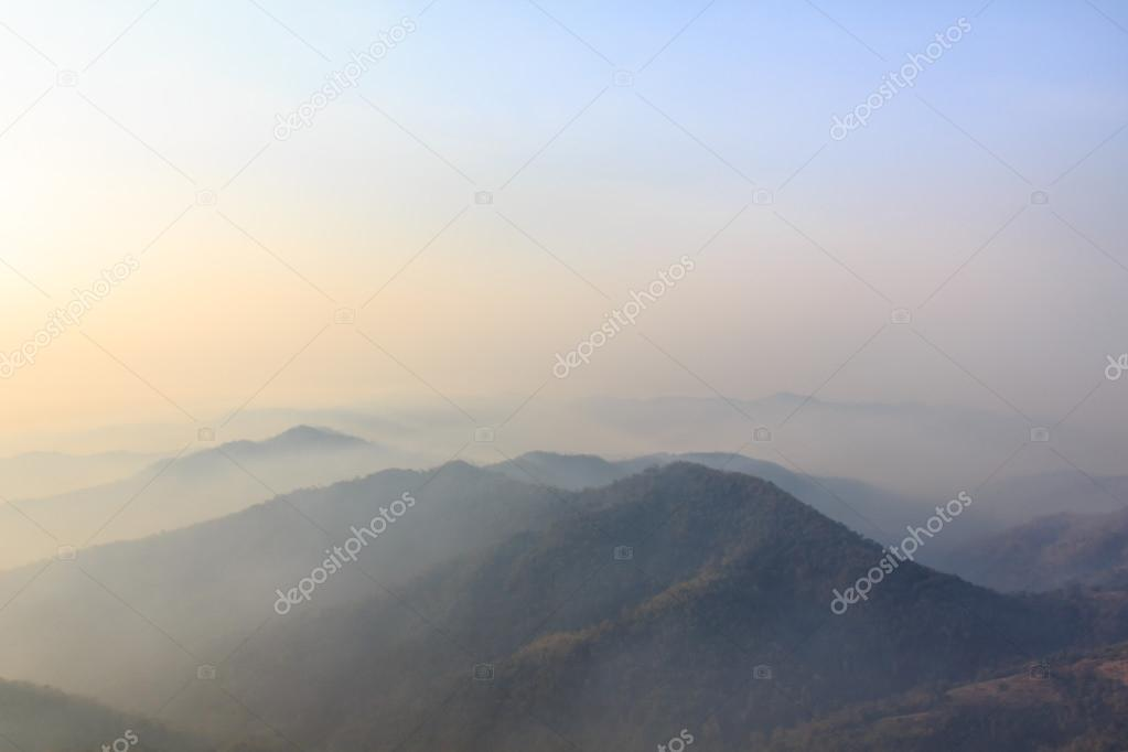 Sunrise in Winter Mountains, Misty dreamy landscape.