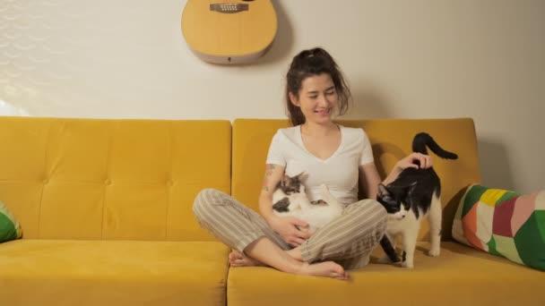 Starke und unabhängige kinderfreie Hündinnen verbringen ihre Freizeit mit Haustieren. Junge hübsche Frau, die zu Hause mit ihren Katzen auf einer Kutsche sitzt. Mädchen spielen und umarmen entzückende Miezekatze. Tierliebhaber-Konzept.