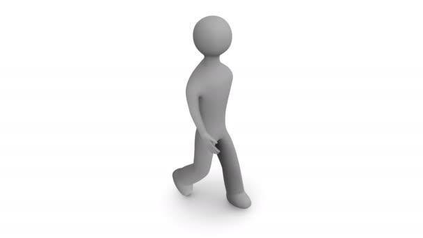 Kroužící kamera kolem chůzi člověka. 3D animace. Smyčka. Alfa matný.