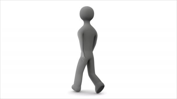 Personaggio animato cammina. Loop senza soluzione di continuità. Mascherino alfa