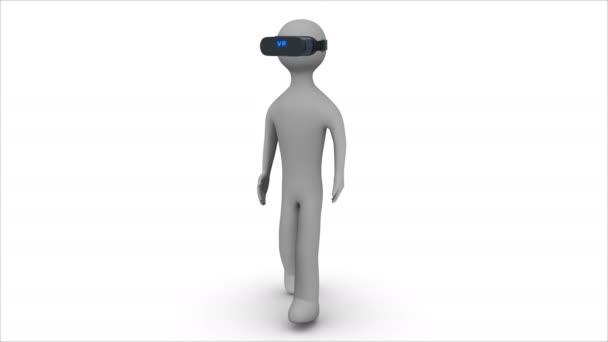 3D Mann zu Fuß in einer virtual-Reality-Kopfhörer. Alpha Matte. Schleife.