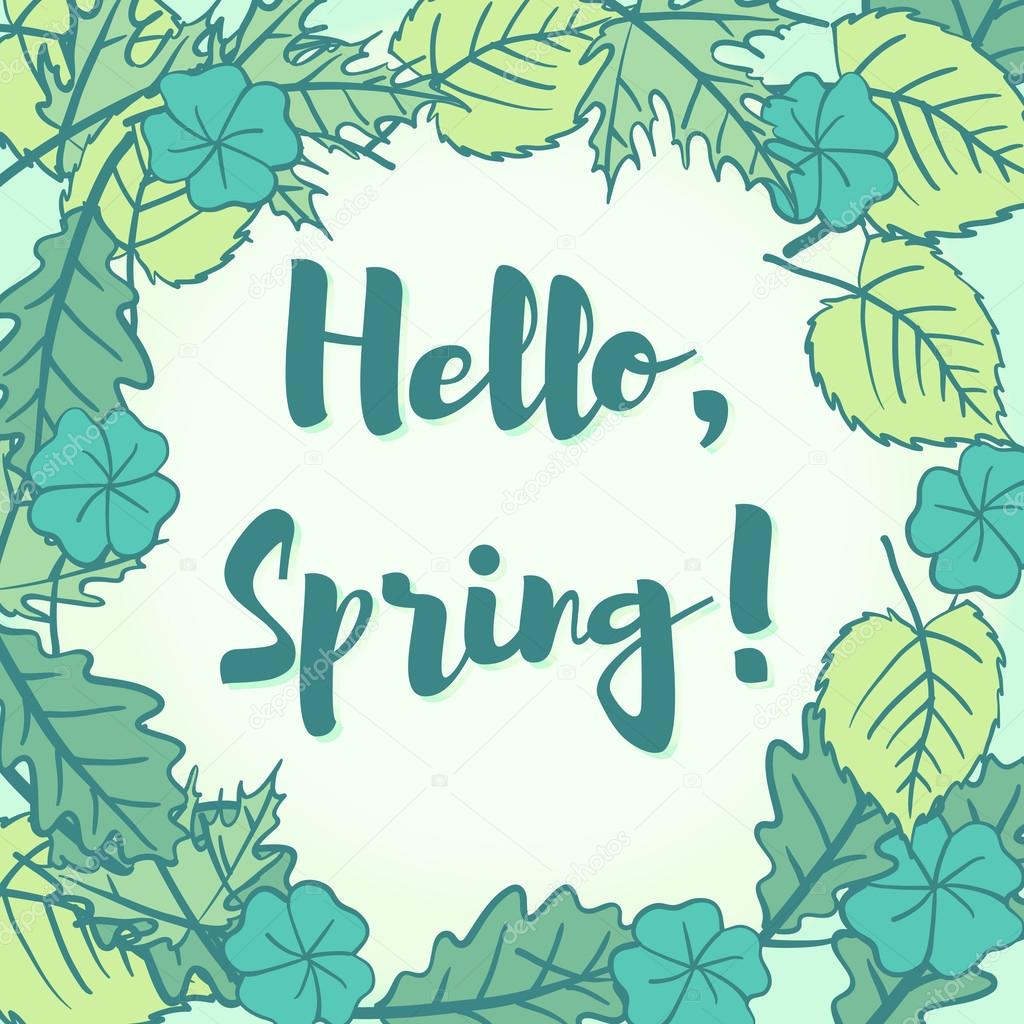 Hello Spring Greeting In A Speech Bubble Of Fresh New Young Gree