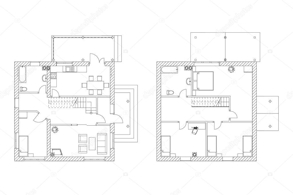 Vector plano arquitectonico planos blanco y negro de un for Disenos de interiores en blanco y negro
