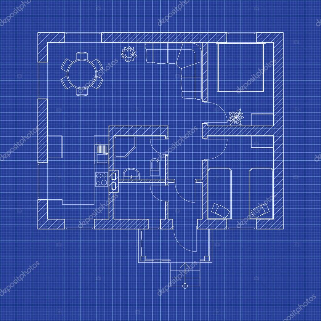 Blueprint floor plan of a modern apartment on graph paper vector blueprint floor plan of a modern apartment on graph paper vector design house interior malvernweather Images