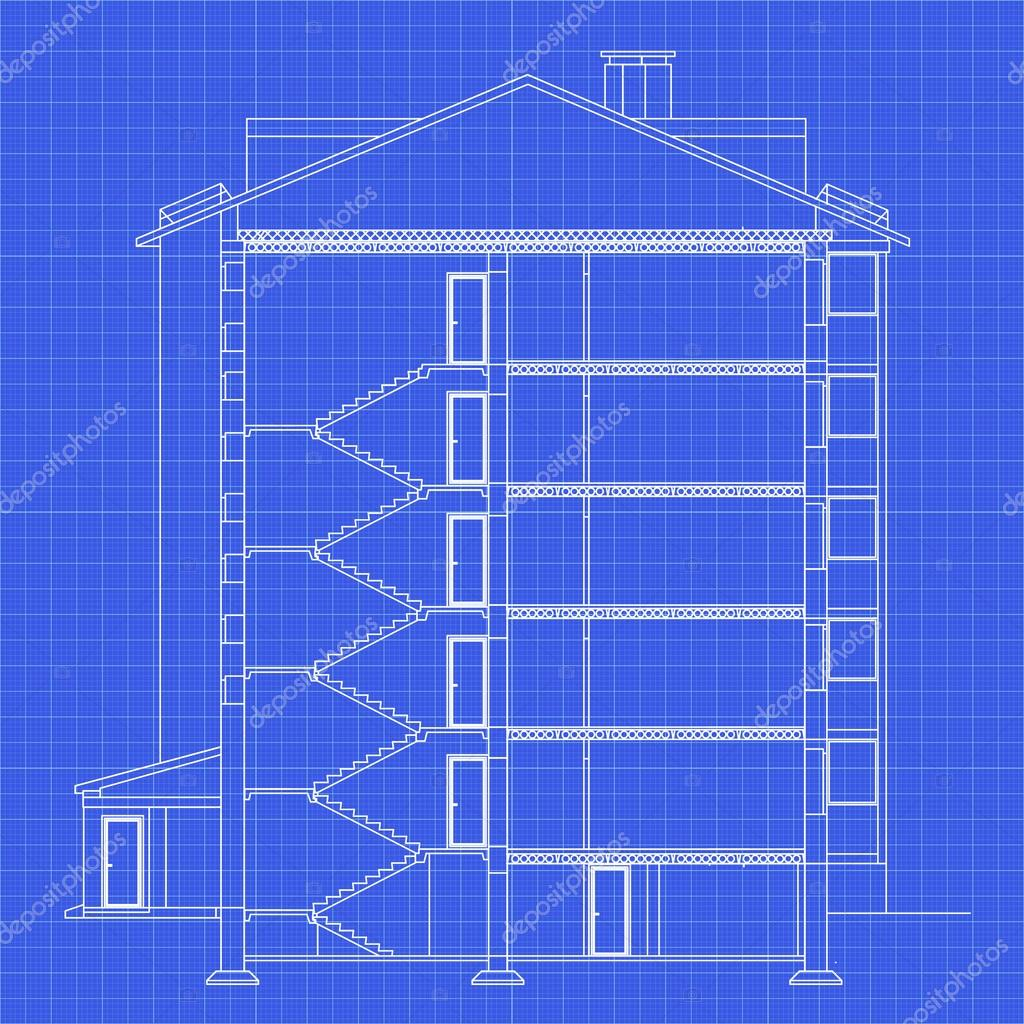 Detailed multi storey building cross section house vector cross section house vector blueprint architectural background malvernweather Gallery