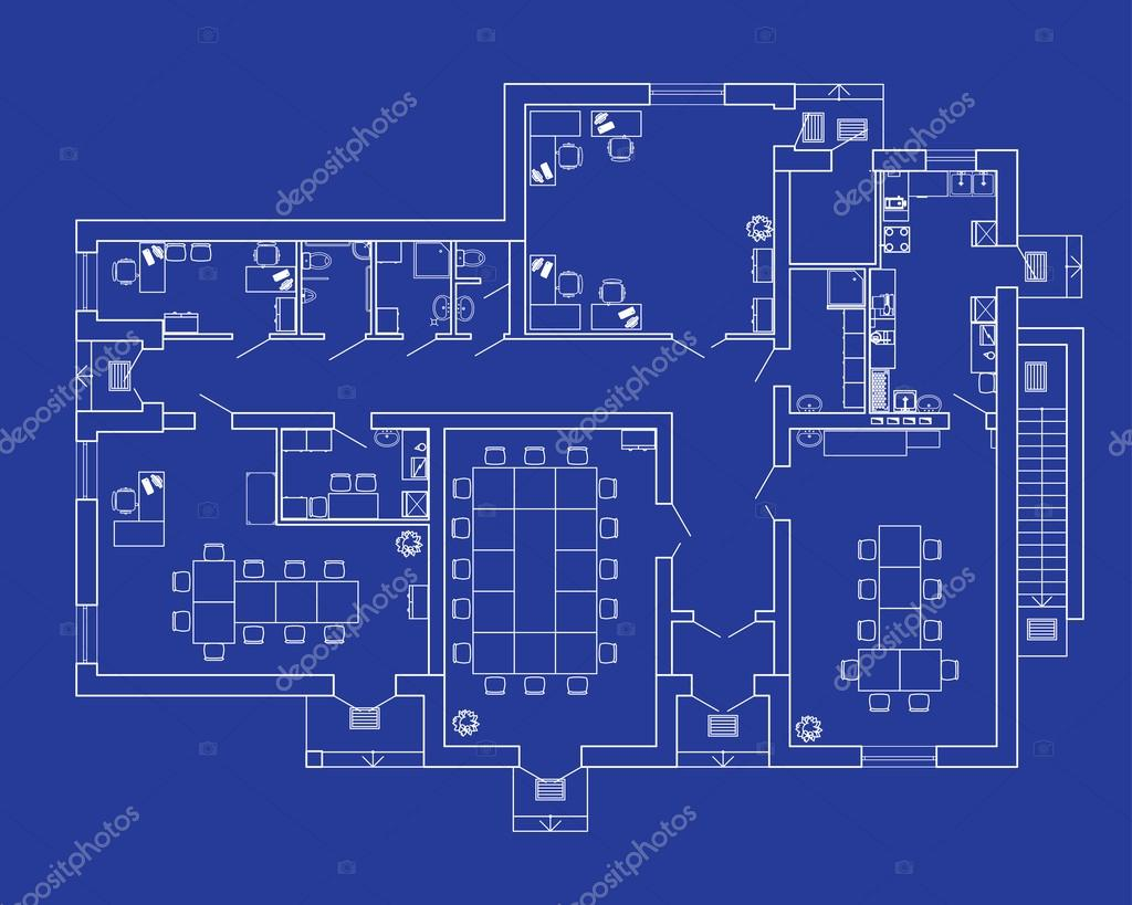 Modern Office Interior With Furniture Vector Blueprint