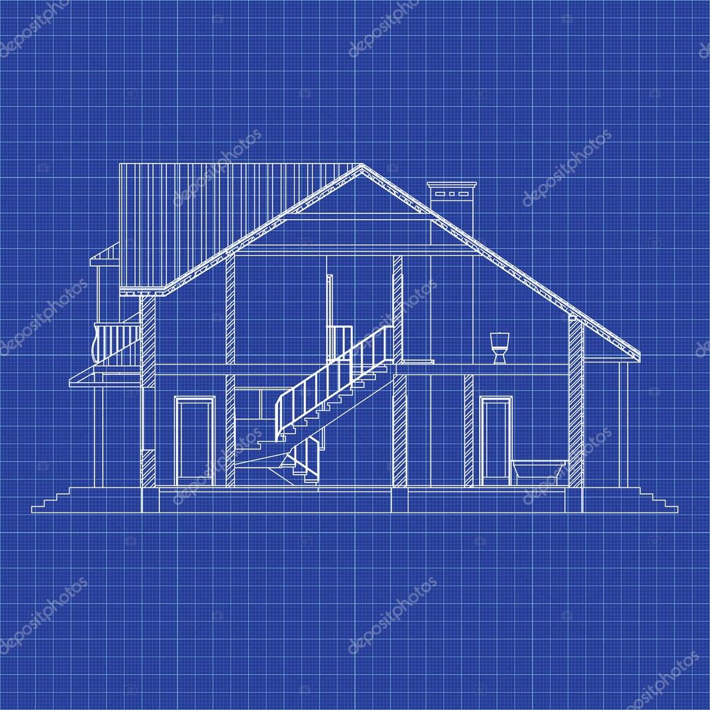 Best interesting architectural background on graph paper cross best interesting architectural background on graph paper cross section house vector blueprint malvernweather Gallery