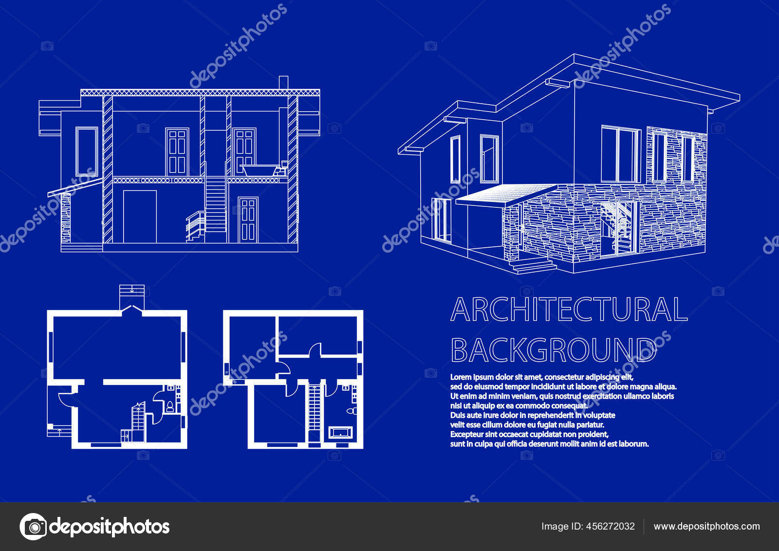 Perspective Floor Plan Cross Section Suburban House Drawing Modern Building Vector Image By Dr1proekt Gmail Com Vector Stock 456272032
