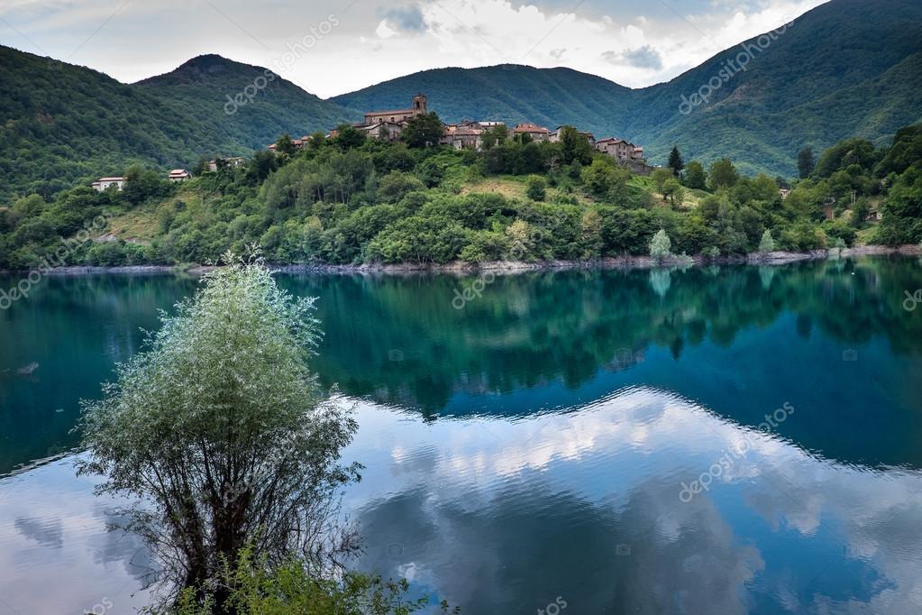 Vagli di Sotto village on Lago di Vagli, Vagli lake, Tuscany, Italy