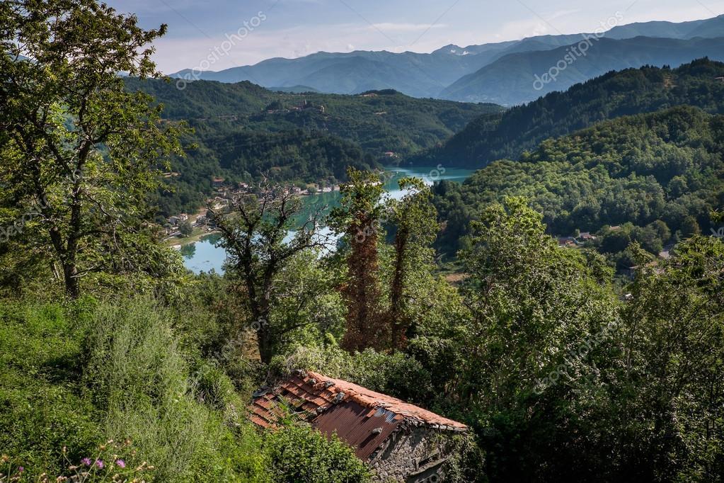 The artificial lake of Gramolazzo, Serchio Valley, Tuscany, Italy