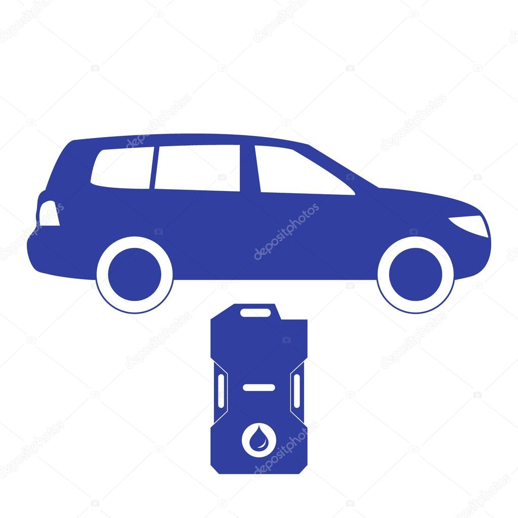 Stylized icon of the car and canister of gasoline on a white stylized icon of the car and canister of gasoline on a white background stock vector biocorpaavc Choice Image