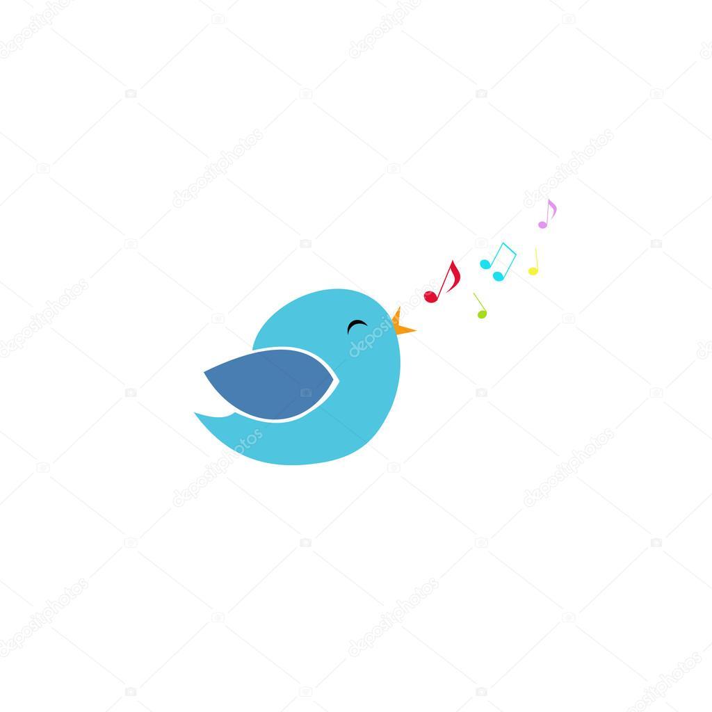 passarinho azul bonito canta com seus bico e mosca notas coloridas