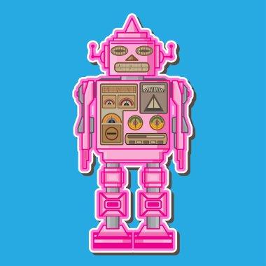 Cute Pink  Robot Vector Design