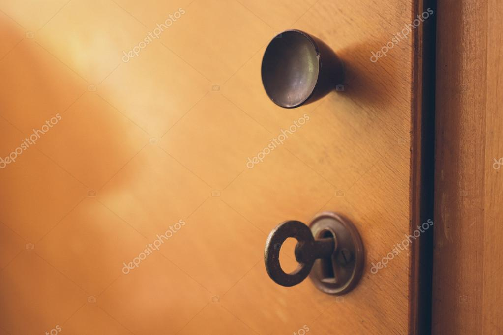 Open Old Cabinet Door With Lock And Key Stock Photo Photozaur