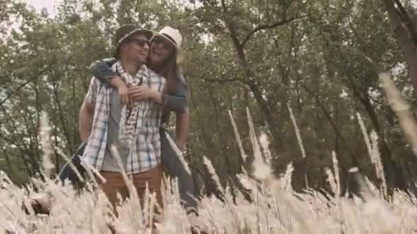 couple having fun together in field