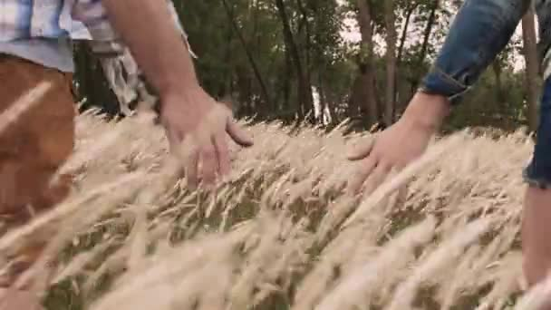 couple touching grass with hands while walking