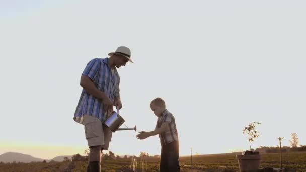 Otec mytí rukou synů při výsadbě stromu