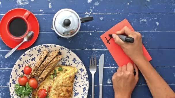 Příprava ranní omeletu a zápis poznámky