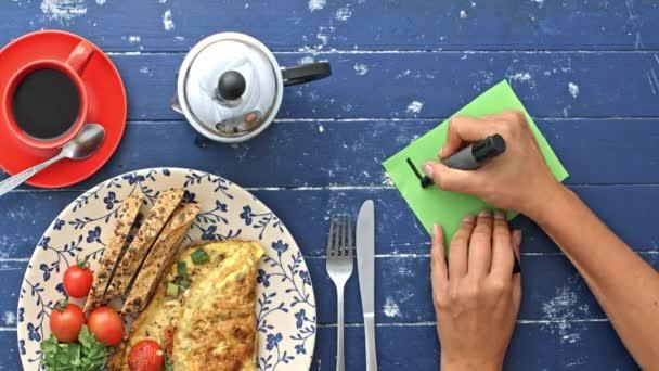 ranní omeletu a poznámku k narozeninám