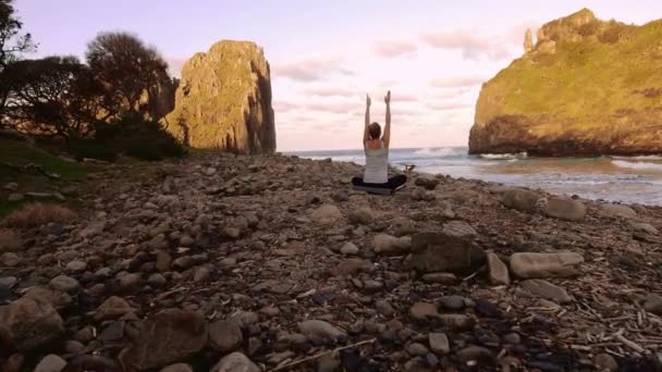 woman practicing meditation and poses