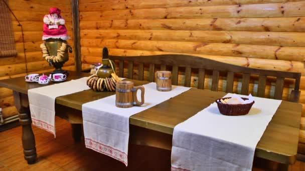 Interiér sauny. Tabulka po sauně