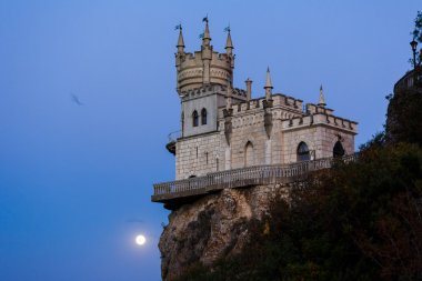 swallow's nest at night in the moonlight