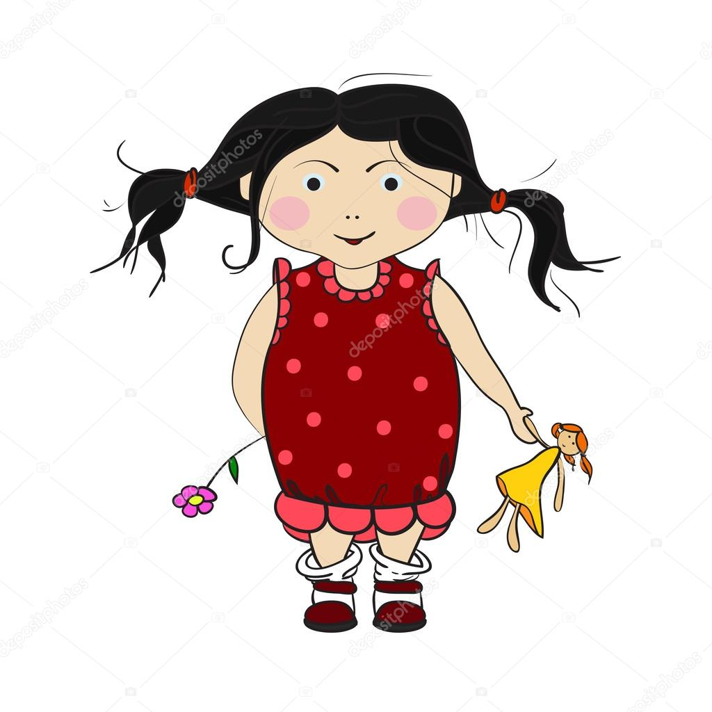 小さな女の子は子供のイラストドレスの笑顔の少女 ストック