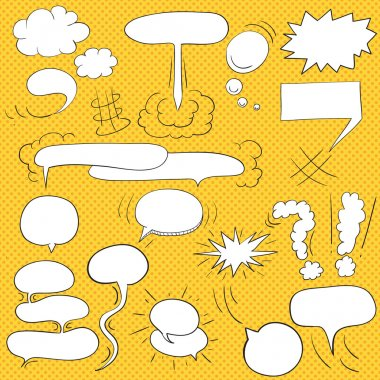 Comic  text clouds in pop art style, set, hand drawn, vector ill