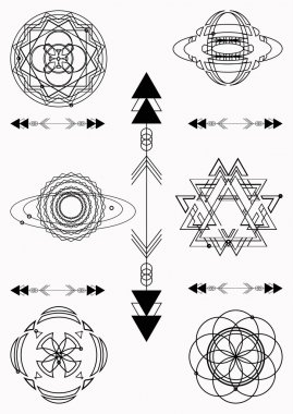 Sacred geometry, vector graphic design elements. Set