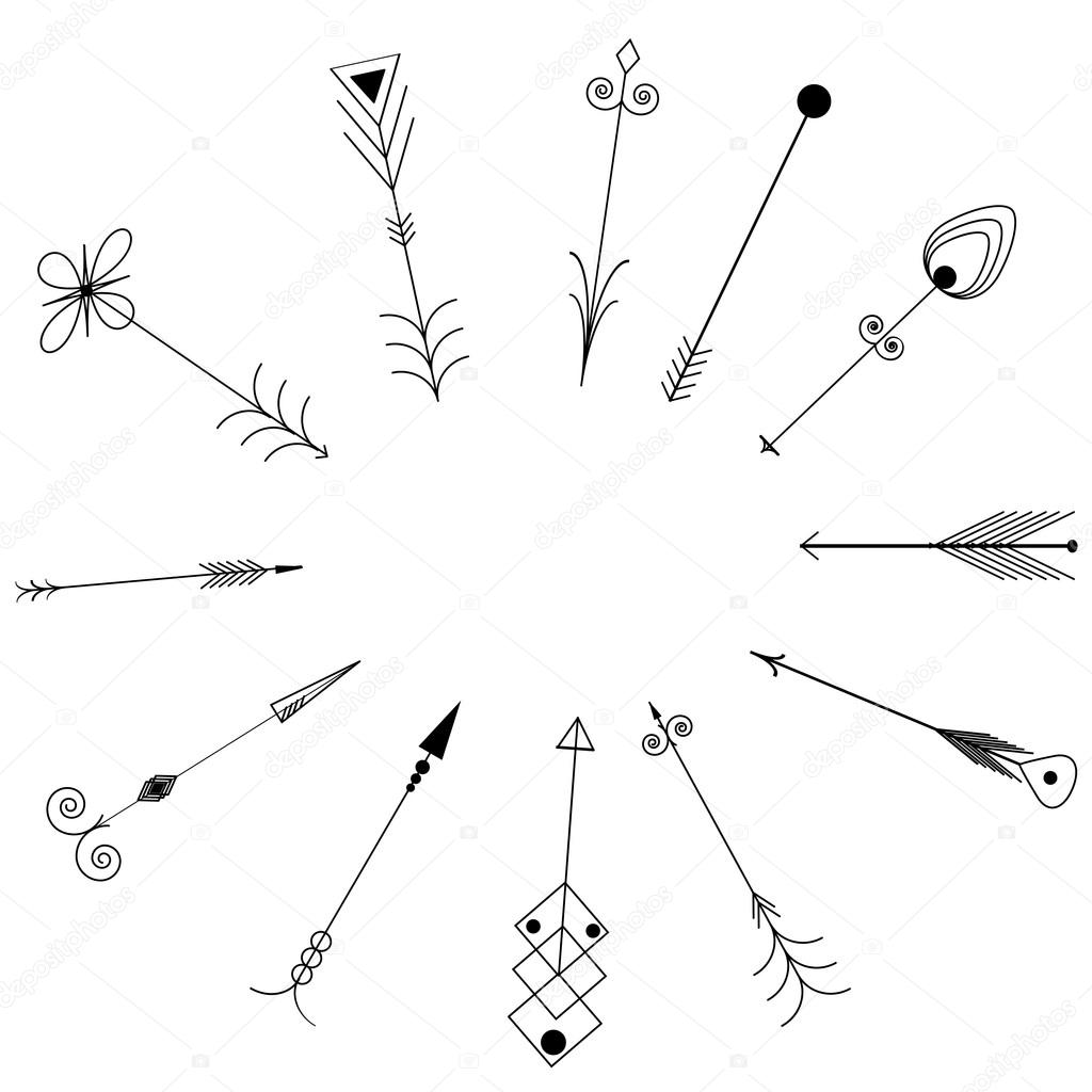 Arrow Clip Art Tribal Vintage Retro Arrows Set Vector Stock
