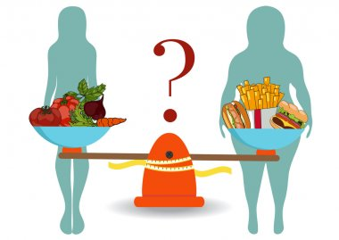 Silhouettes of women thin and thick with vegetables and fast foo