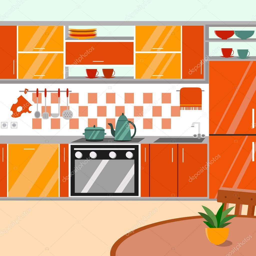 Kitchen Interior Vector Illustration Cartoon Flat Style Stock