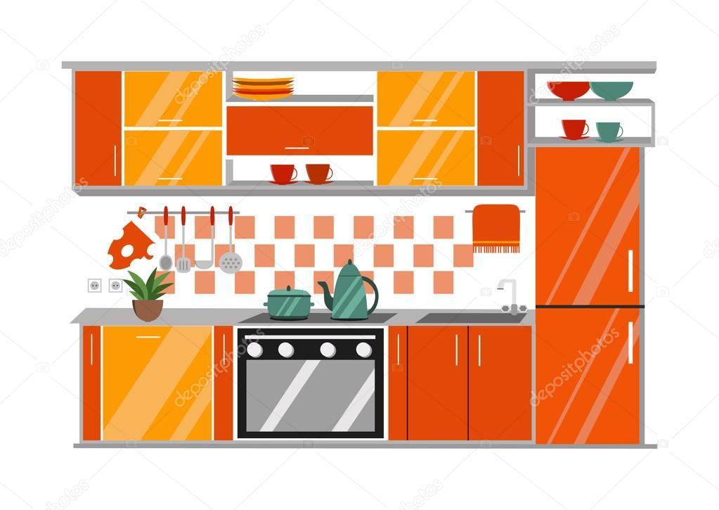 厨房内的矢量图。卡通平面样式 — 图库矢量图像© prejudice.ju.gmail.com #111640868
