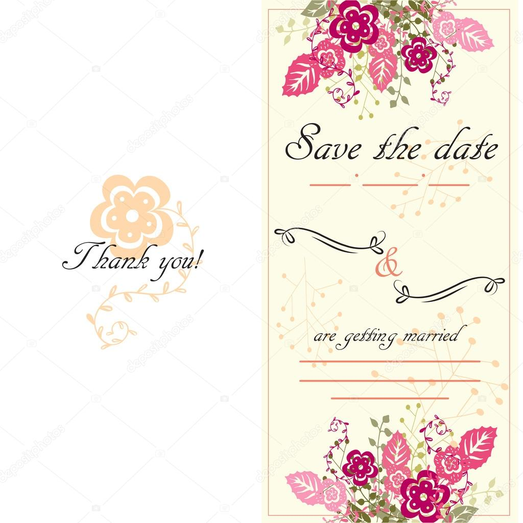 Carte D Invitation Mariage Dessine Main Style Boho Vecteur