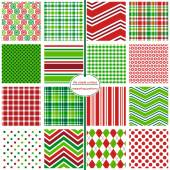 Photo Holiday seamless patterns. Christmas gift wrap. Christmas scrapbook paper. Holiday repeating patterns in red and green.