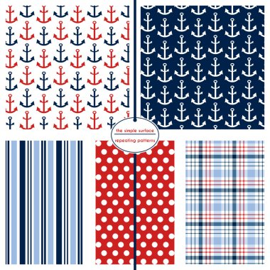 Red, White & Blue Scrapbook Paper, Nautical, Anchors