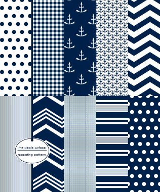 Nautical and anchor seamless patterns. Navy and white polka dot, gingham, anchor, chevron, pinstripe, grid and stripe prints for fabric, gift wrap, baby shower paper, scrapbooking and more. Classic, retro, vintage, preppy style.