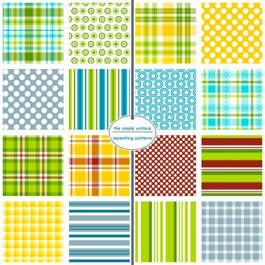 16 seamless patterns for scrapbook paper, gift wrap, cards, backgrounds, fabric and more. Plaid, gingham, polka dot, and stripe repeating patterns. Blue, Green, Red, Yellow, Orange. Colorful pattern swatch set.